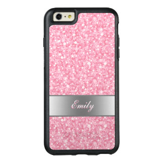 Monogrammed Pink And White Glitter OtterBox iPhone 6/6s Plus Case