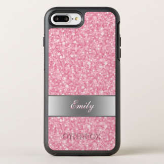 Monogrammed Pink And White Glitter OtterBox Symmetry iPhone 8 Plus/7 Plus Case