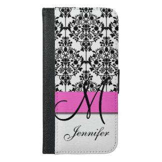 Monogrammed Pink Black White Floral Damask iPhone 6/6s Plus Wallet Case