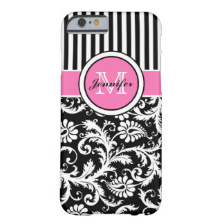 Monogrammed Pink Black White Striped Damask iPhone 6 Case