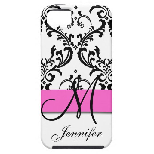 Monogrammed Pink Black White Swirls Damask iPhone 5 Covers