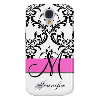 Monogrammed Pink Black White Swirls Damask Galaxy S4 Case