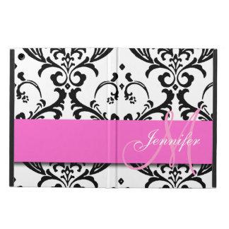 Monogrammed Pink Black White Swirls Damask iPad Air Case