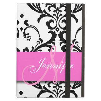 Monogrammed Pink Black White Swirls Damask iPad Air Cover