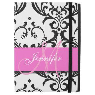 "Monogrammed Pink Black White Swirls Damask iPad Pro 12.9"" Case"