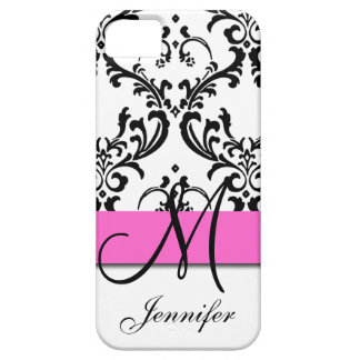 Monogrammed Pink Black White Swirls Damask iPhone 5 Cover
