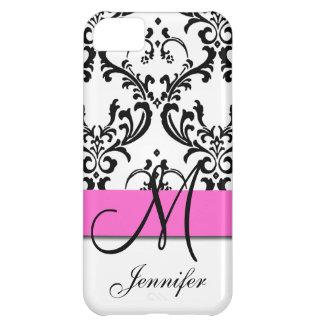 Monogrammed Pink Black White Swirls Damask iPhone 5C Case