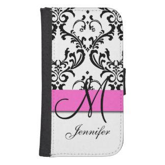 Monogrammed Pink Black White Swirls Damask Samsung S4 Wallet Case