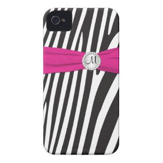 Monogrammed Pink, Black, White Zebra Striped iPhone 4 Case-Mate Case