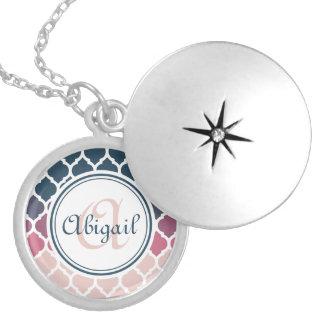 Monogrammed Pink Blue Moroccan Lattice Pattern Round Locket Necklace