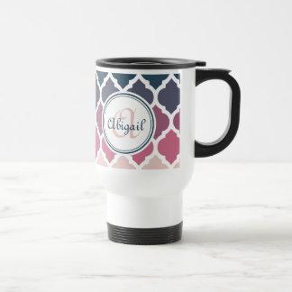 Monogrammed Pink Blue Moroccan Lattice Pattern Travel Mug