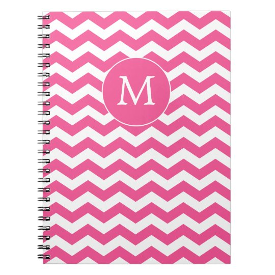 Monogrammed Pink Chevron Notebook