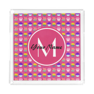 Monogrammed Pink Cupcakes, Personalized Name Acrylic Tray