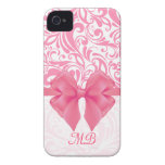 Monogrammed Pink Damask and Pink Ribbon