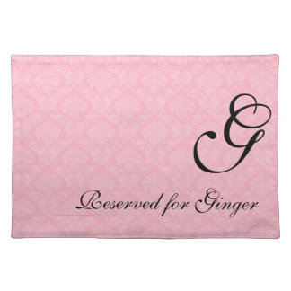 Monogrammed Pink Damask for Dogs Placemat
