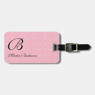 Monogrammed Pink Damask for Travelers Luggage Tag