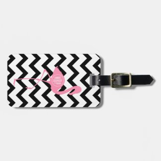 Monogrammed Flamingo Luggage Tag