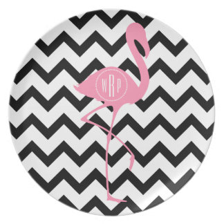 Monogrammed Pink Flamingo + Black Chevron Plate