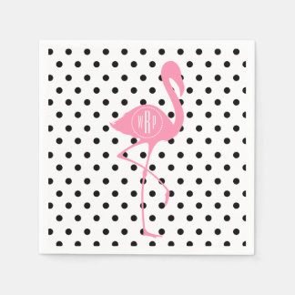 Monogrammed Pink Flamingo + Black Polka Dot Disposable Serviettes