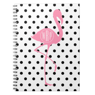 Monogrammed Pink Flamingo + Black Polka Dot Notebook