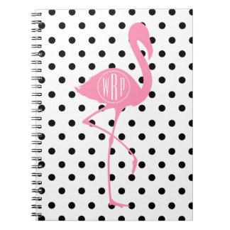 Monogrammed Pink Flamingo + Black Polka Dot Spiral Notebook