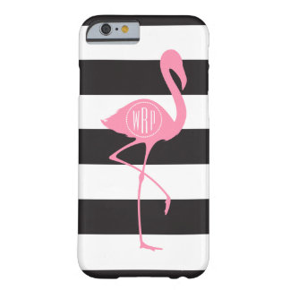 Monogrammed Pink Flamingo + Black + White Stripes Barely There iPhone 6 Case