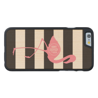Monogrammed Pink Flamingo + Black + White Stripes Carved Maple iPhone 6 Case