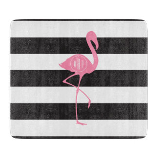 Monogrammed Pink Flamingo + Black + White Stripes Cutting Board