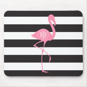 Monogrammed Pink Flamingo + Black + White Stripes Mouse Mat