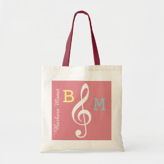 monogrammed pink G clef for her / musical note Tote Bag