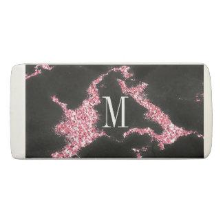 Monogrammed Pink Glitter Eraser