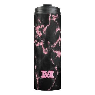 Monogrammed Pink Glitter On Black Background Thermal Tumbler
