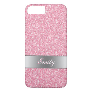 Monogrammed Pink Glitter Silver Gradient Accents iPhone 8 Plus/7 Plus Case