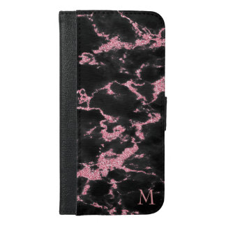 Monogrammed Pink Glitter White Sparks iPhone 6/6s Plus Wallet Case