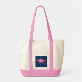 Monogrammed Pink Graduation Cap + Navy Quatrefoil Impulse Tote Bag