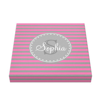 Monogrammed Pink Grey Striped Pattern Canvas Print