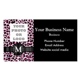 Monogrammed pink leopard print pattern pack of standard business cards