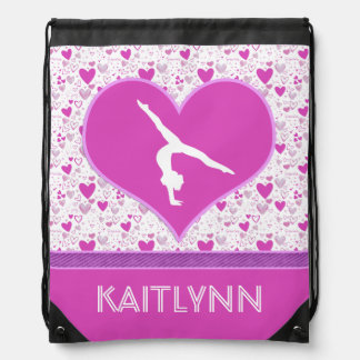 Monogrammed Pink Lots o' Hearts Gymnastics Drawstring Backpack