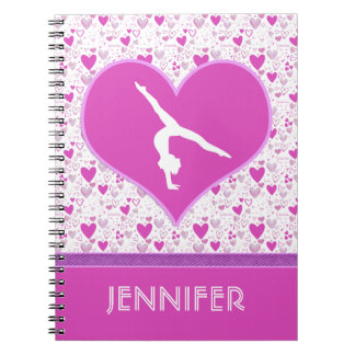 Monogrammed Pink Lots o' Hearts Gymnastics Spiral Note Books