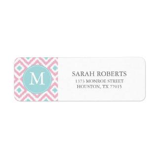 Monogrammed Pink Mint Diamonds Ikat Pattern Return Address Label