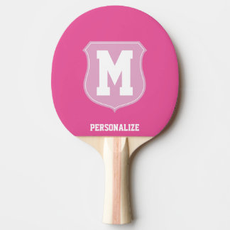 Monogrammed pink ping pong paddle for table tennis