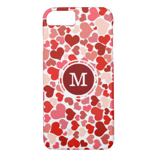 Monogrammed Pink & Red Hearts Pattern iPhone 8/7 Case