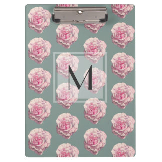Monogrammed Pink Rose Watercolor Illustration Clipboards