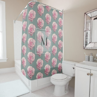 Monogrammed Pink Rose Watercolor Illustration Shower Curtain
