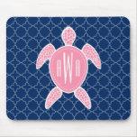 Monogrammed Pink Sea Turtle Blue Quatrefoil