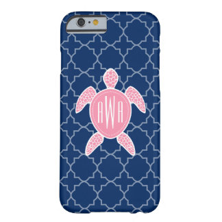 Monogrammed Pink Sea Turtle Blue Quatrefoil Barely There iPhone 6 Case