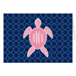 Monogrammed Pink Sea Turtle Blue Quatrefoil Card