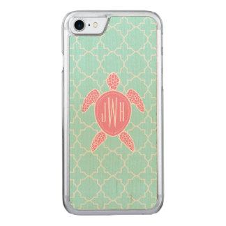 Monogrammed Pink Sea Turtle + Blue Quatrefoil Carved iPhone 8/7 Case