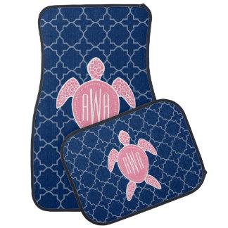 Monogrammed Pink Sea Turtle Blue Quatrefoil Floor Mat