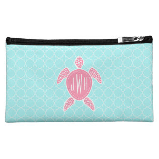 Monogrammed Pink Sea Turtle + Blue Quatrefoil Makeup Bag